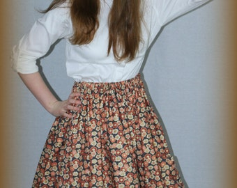 Girl's skirt, modest, pretty floral print on brown background