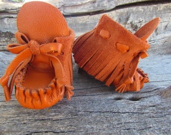 """Newborn Moccasins By Desi, 3"""" long, Soft burnt Orange Leather, Girl, Boy, Baby boots, shoes, Tribal, Thanksgiving outfit, Winter Wear, Fall"""