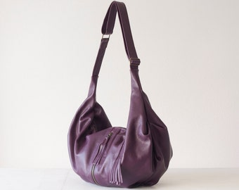 Violet purple leather crossbody bag, hobo bag shoulder purse caryall bag crossover large bag-Crossbody Kallia bag