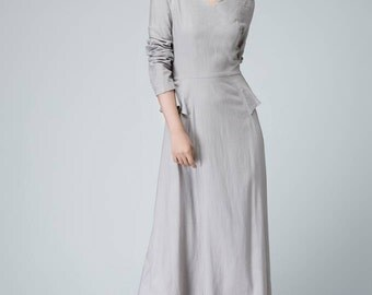 Light gray dress, linen dress, maxi dress, spring dress, fitted dress, elegant dress, party dress, womens dresses, patchwork dress(1461)
