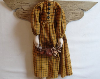 Folk Angel Doll, handmade, mustard check dress, 26""