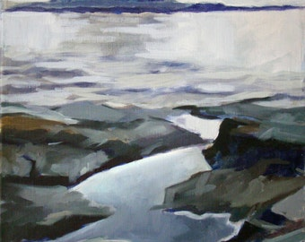 Island Monochrome - Winter Harbor, Maine - Original Oil Painting - Oil on Stretched Linen - 11 x 14