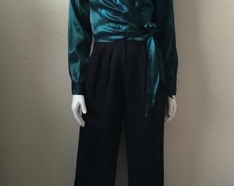 Vintage Women's 80's Jumpsuit, Black, Teal, Long Sleeve, Pantsuit (S)