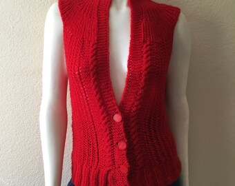 Vintage Women's 70's Boho Sweater Vest, Red, Sleeveless, Acrylic (S/M)