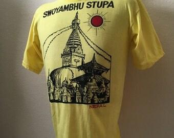 Vintage Men's 80's Nepal T Shirt, Yellow, Black, Short Sleeve (M)