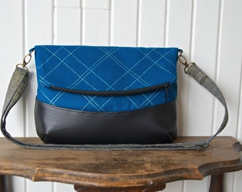 Freesia Foldover Cross body bag in  Blue and Gold Metallic Plaid Carkai with black faux leather