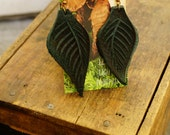 """Earrings 3"""" Teal Green Leather Leaf, Woodsy, Leaves, Autumn, Fall, Unique, Handmade, Lightweight, Soft, Dangle, Woodland"""