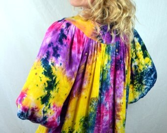 Vintage Tie Dye Gauzy Cotton Metallic Hippie Tent Dress
