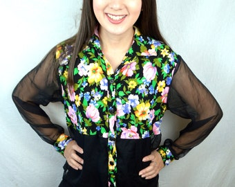 FUN Vintage 80s Floral Button Up Rainbow Shirt - Sheer Sleeves