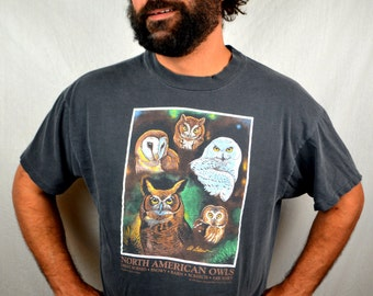 Vintage 90s Owl Nature Tshirt Tee Shirt 1993 - North American Owls