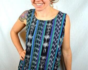 Vintage Ikat 1980s 90s Grunge Hippie Dress