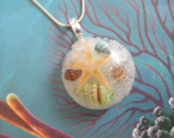 Walk On The Beach-Star Fish,Sea Shells, Beach Sugar Sand Round Resin Pendant-Nature's Wearable Art-Tropical Ocean Inspired-Gifts Under 35