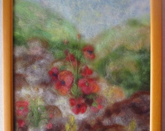Poppies on a mountain - wool fiber art, wall hanging, wool picture