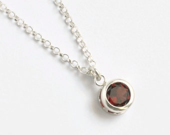 Sterling Silver Bezel Set Garnet Necklace / Round Garnet Pendant / January Birthstone Necklace / 16 inch / 18 inch/ 20 inch