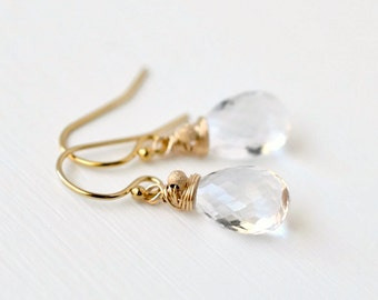 Colorless Gemstone Earrings / Clear Gemstone Earrings / Crystal Quartz Earrings / Gold Fill / Wire Wrapped Briolette Dangles