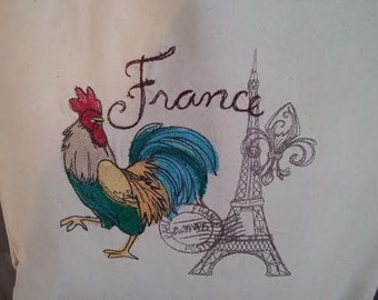 Canvas Tote Embroidered French Rooster Eiffel Tower RDT OFG FSET