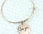 Rose gold filled Handwriting Bangle Bracelet, Signature Bangle Bracelet, Layering Bracelet, Remembrance Bracelet, Memorial Jewelry