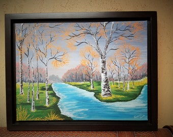 Hand Painted - Birch Trees by the River - Framed Painting