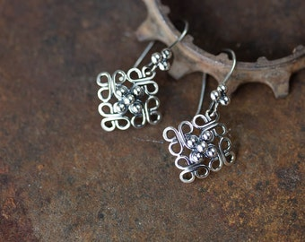 Unique Hand Fabricated Sterling Silver Earrings, Ornamental Domed Square Earrings, Short Lightweight Dangle Earrings, Solid Silver