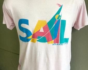 Sail Atlantic City 1980s vintage tee shirt - soft pink size medium/large