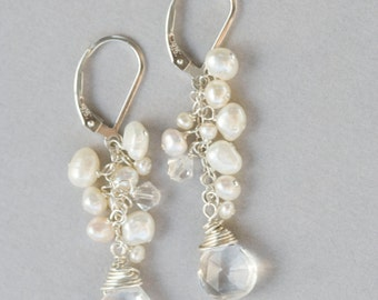 Bridal Earrings, Wedding Earrings, Beach Wedding Earrings, Long Pearl Earrings, White Pearl Earrings, Wedding Jewelry, Bride Earrings, Pearl