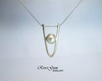 Single Pearl Necklace, Sliding Pearl Pendant, Sterling Silver, Brushed Finish, Special Occasion Jewelry, Wedding Jewelry, MADE TO ORDER