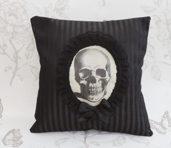 Anatomic Skull pillow cushion black stripes