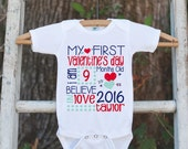 First Valentine's Day Outfit - Personalized Valentine Onepiece - Baby's First Holiday - Kids 1st Valentines Day Bodysuit for Baby Boys