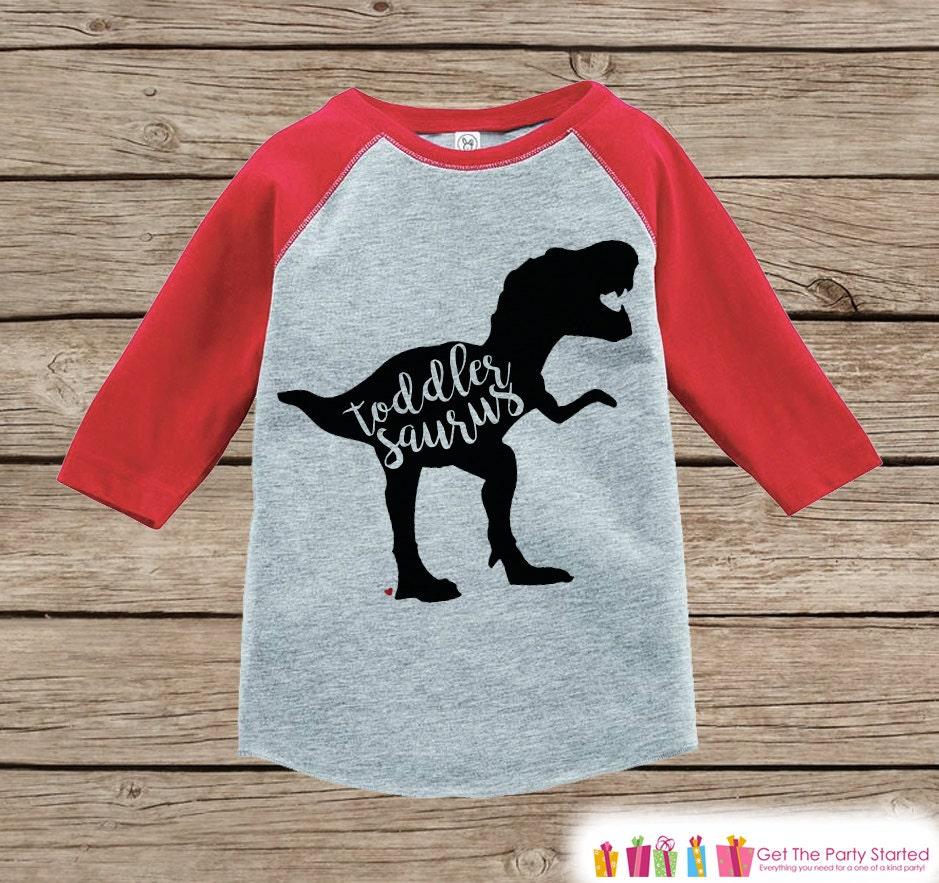 Toddler Dinosaur Shirt Toddlersaurus Kids Red Raglan Shirt
