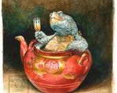 Teapot Terrapin - original art watercolor painting