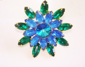 Blue Green Rhinestone Brooch Gold Tone