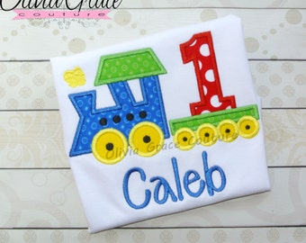 Boys Train Birthday Shirt, Girls Train Birthday  Shirt, Embroidered Applique Shirt or Bodysuit, 1st birthday, 2nd birthday, 3rd birthday