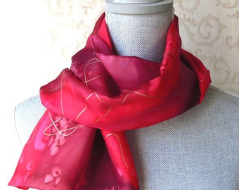 Holiday Reds with Gold Accent Handpainted Silk Scarf