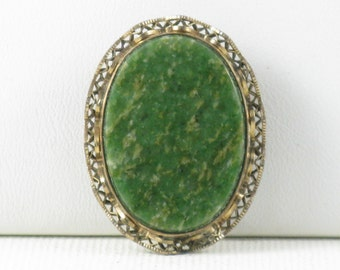 Vintage wRe William E. Richards Gold Vermeil and Moss Agate Stone Brooch Pendant (B-1-6)