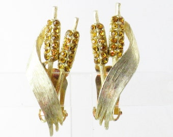 Vintage Citrine Rhinestone Cattail Clip Earrings  (E-1-1)