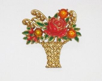Vintage Retro Enameled Pot Metal Floral Basket Brooch Pin (B-3-3)