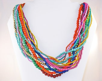 Vintage Glass Bead Multicolored Multistrand Necklace (N-3-1)