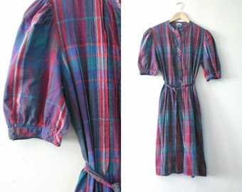 Vintage 80s plaid dress / Hipster plaid cotton day dress / Summer frock dress
