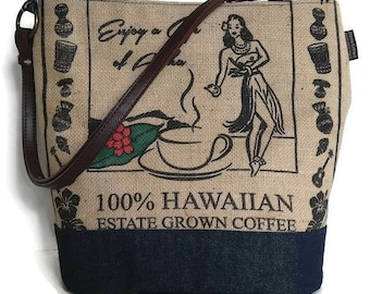 MTO. Custom. Hula Girl Bucket Hobo Handbag. Repurposed Green World Farms Coffee Bag and Shoulder Bag. Handmade in Hawaii.