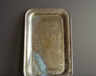 Worn Silverplate Tray - Vintage Silverplate Tray - Small Rectangle Keystoneware Silverplate Platter or Serving Tray