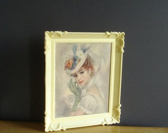 A Night Out - Vintage Lithograph of Woman in Ornate Frame - Strevens