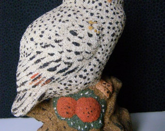 Sand Art Owl Vintage Figurine natural colored sand from Iowa