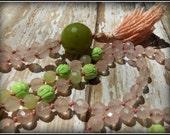 Rose Quartz Mala, Serpentine Mala, Magnesite Mala, Jade, Mala Beads, Prayer Beads