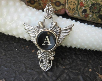 Antique Typewriter Key Necklace Letter A - Wings