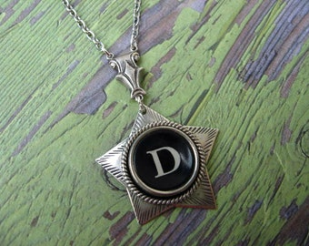 Typewriter Key Jewelry - Antique Typewriter Key Necklace - Letter D - Star
