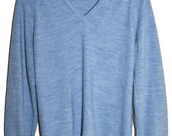 Vintage CHRISTIAN DIOR V Neck Sweater Heather Blue Soft Orlon Mens S M Boyfriend Fit