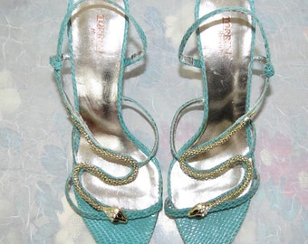 Torrini Beauty turquoise snakeskin strappy high heeled sandals Italian size 38 US 7.5 M