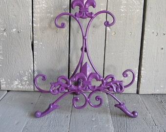 Purple Easel, Metal Easel Book Stand Prop, Shabby Cottage Chic, Fleur De Lis, Parisian Chic, Cottage Chic, French Country, Paris Apartment