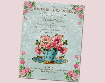 Handmade  Digital Collage Roses Teacup Vintage French Script  Collage Sheets Print Supplies Paper  Ephemera Scrapbooking