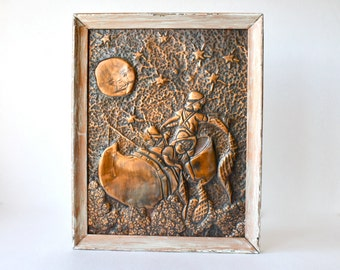 Vintage Copper Picture Wynken Blynken & Nod, Hammered Tooled, Embossed Copper Artwork, Children's Poem, Eugene Field, Child's Room Decor